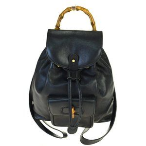 GUCCI Logos Bamboo Mini Backpack Bag Leather Black